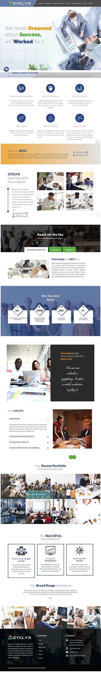 Zyclyx - Robotic Process Automation RPA and IT Consulting Company Website Designed by Web Gen World